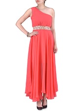 Coral Poly-georgette Net Embroidered Maxi Dress - By