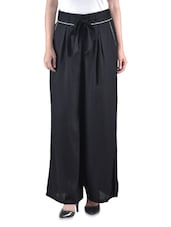 Black Plain Rayon Top With Waist Belt - By