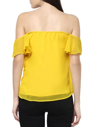 71b3501cf7bc Buy Off Shoulder Ruffle Detail Top by Mabish By Sonal Jain - Online ...