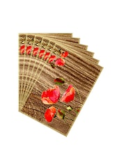 Leaf Designs Natural & Vermillion Table Mat - Set of 6 -  online shopping for Placemats