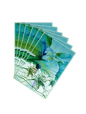 Leaf Designs Sketched Floral Sea Green Table Mat - Set Of 6 - By