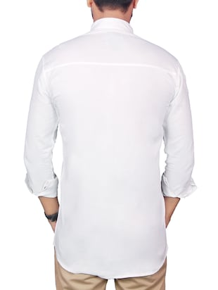 white linen casual shirt - 12441383 - Standard Image - 3