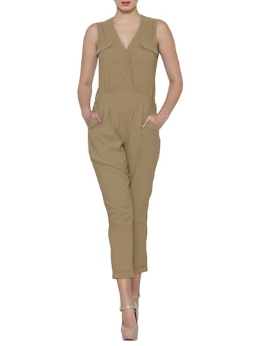 Solid beige sleeveless cotton jumpsuit - 12449654 - Standard Image - 1