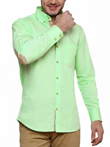 green cotton casual shirt - 12457365 - Standard Image - 1