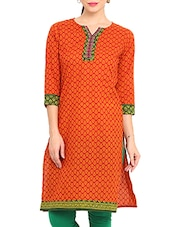 Orange Cotton Printed Embroidery  Kurta - By