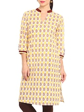 Yellow Cotton Printed Kurti With Non-functional Buttons - By