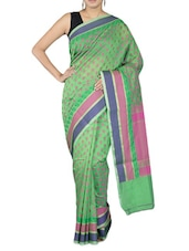 Green Cotton Art Silk And Zari Saree - By - 1246670