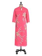 Pink Georgette Embroidered Aari Worked Kurti - By