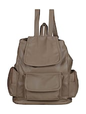 Grey synthetic leather backpack -  online shopping for backpacks
