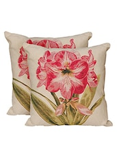 Avira Home Pink Rose Cushion Covers-Set Of 2-Cotton/Polyester-zipper Opening - By
