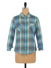 Green And Blue Cotton Printed Shirts - By