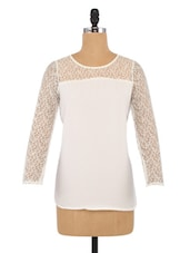 White Polyster Printed Cutworked Top Top - By