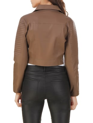 brown leather jacket - 12485573 - Standard Image - 3