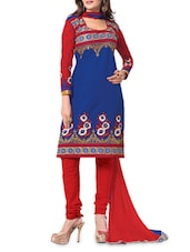 Blue Georgette Embroidered Semi Stitched Suit Set - By