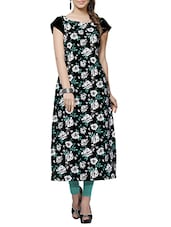black crepe floral printed long straight kurta -  online shopping for kurtas