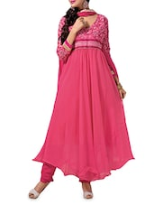 Pink Embroidered Georgette Anarkali Suit Set - By