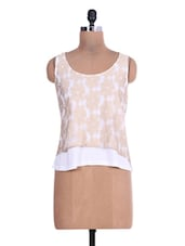 White Embroidered Sleeveless Layered Top - By
