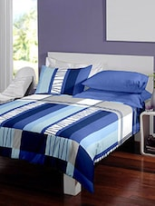 Dreamscape 140TC 100% Cotton Blue Geometric Single bedsheet set -  online shopping for bed sheet sets