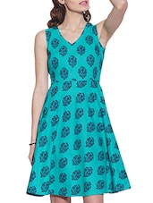 blue cotton fit and flare dress -  online shopping for Dresses