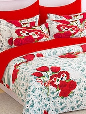 Story @ Home 100% Cotton Red Floral 1 Double Bedsheet With 2 Pillow Covers -  online shopping for bed sheet sets