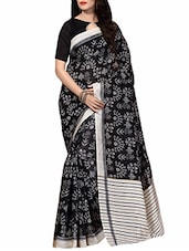 black silk printed saree -  online shopping for Sarees