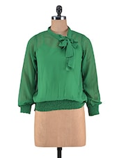 Solid Green Polygeorgette Top - By