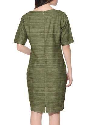 cf41f0fb1d5e Buy Green Pure Silk Pencil Dress by Roots Studio - Online shopping for  Dresses in India