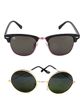 Aventus Combo Of Black Clubmasters & Golden Round Sunglasses - By