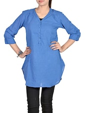 blue polyester regular tunic -  online shopping for Tunics