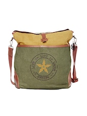 Green & yellow canvas printed sling bag -  online shopping for sling bags