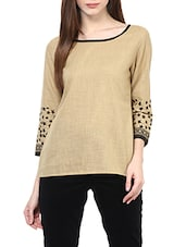 beige printed cotton regular top -  online shopping for Tops