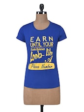 Blue Printed Cotton Knit T-shirt - By