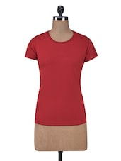 Red Plain Cotton Knit T-shirt - By