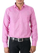 solid pink cotton formal shirt -  online shopping for formal shirts
