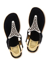 Black Suede Sandals With Stretchable Loop Closure - By