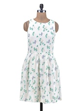 White Printed Sleeveless Polyester Dress - By