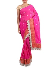 Pink  Georgette Embroidered Saree - By