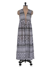 Grey And White Abstract Printed Dress - By