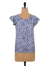 Blue And White Polyester Printed Top - By