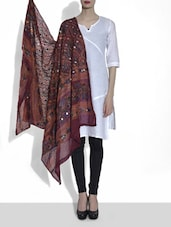 Maroon Embroidered Cotton Dupatta With Mirror Work - By