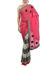 Pink And Cream Polka Dot Printed Georgette Saree - By
