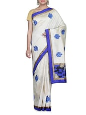 Off-white Embroidered Dupion Silk Saree - By