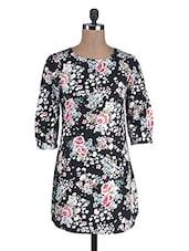 Black Poly Crepe Floral Print Dress - By