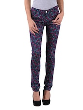 Navy Blue Cotton Satin Lycra Printed Jeggings - By
