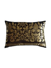 """Dark Brown And Gold Printed Cushion Cover 12"""" X 18"""" - By"""