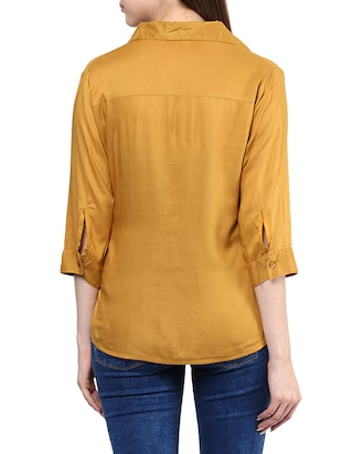 2c5e0abe6c852c Buy Yellow Rayon Regular Shirt by Mayra - Online shopping for Shirts in  India