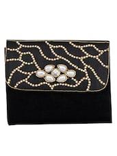Black Leatherette Embellished Clutch - By