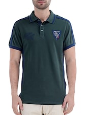 green cotton collared tshirt -  online shopping for T-Shirts