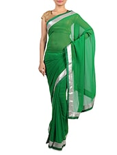 Green Georgette Saree With Silver Border - By