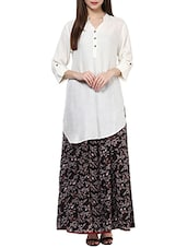 White Rayon Asymmetric Kurta - By